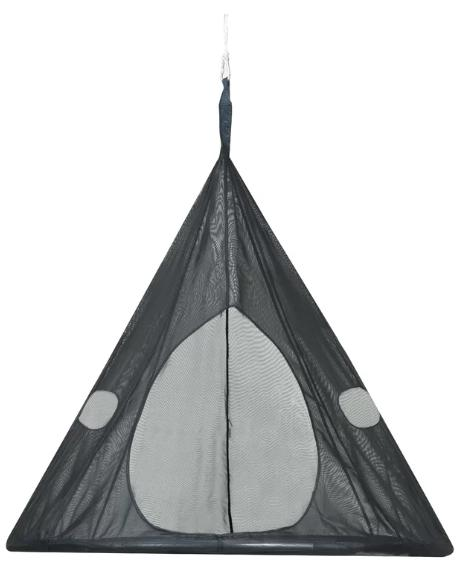 Dark gray, teardrop tree hammock.