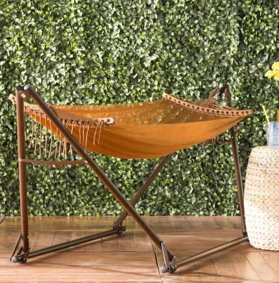 Dark orange, nylon hammock.