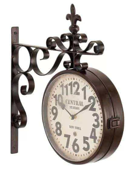 Vintage-style, deep brown outdoor clock.