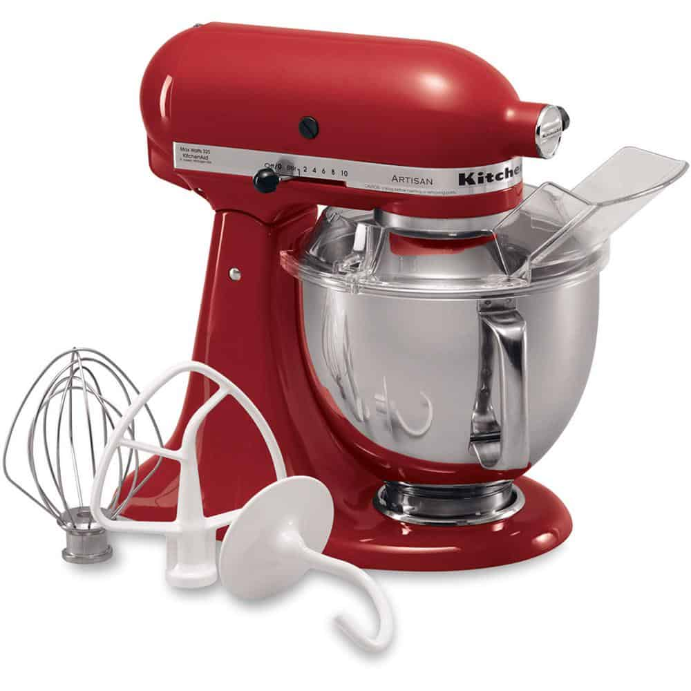 Red, heavy-duty stand mixer with a smooth finish.