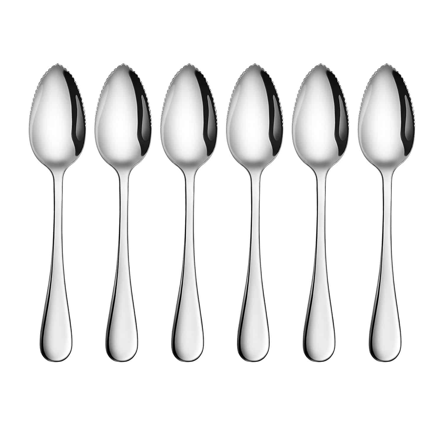 This 6-piece grapefruit dessert spoons is made from 18/10 stainless steel with extra thick ergonomics handle and its rain pattern is simple and elegant with reflective mirror finish.