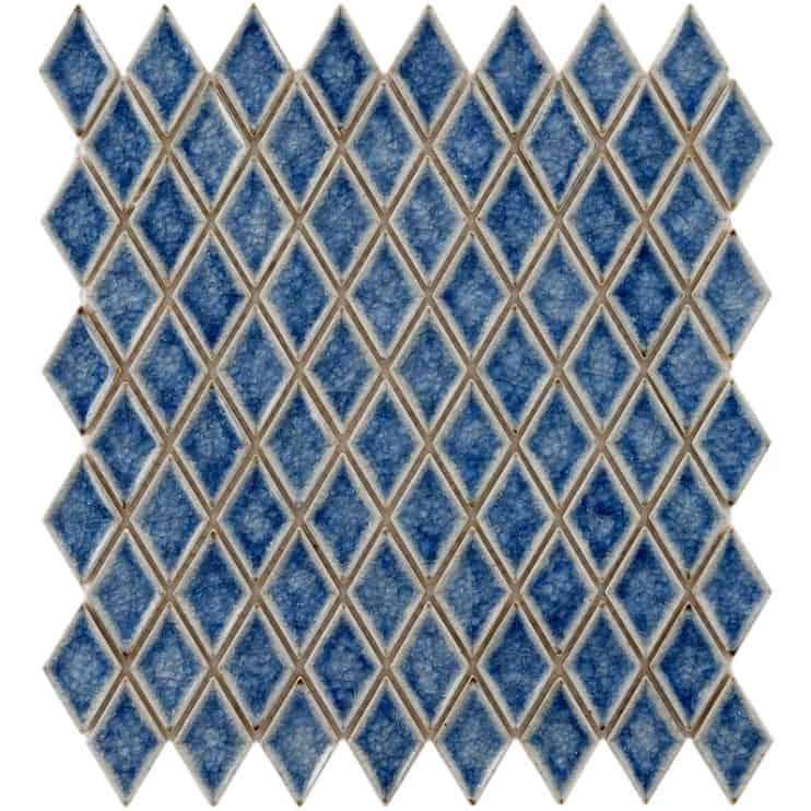 Diamond mosaic tile kitchen backsplash.