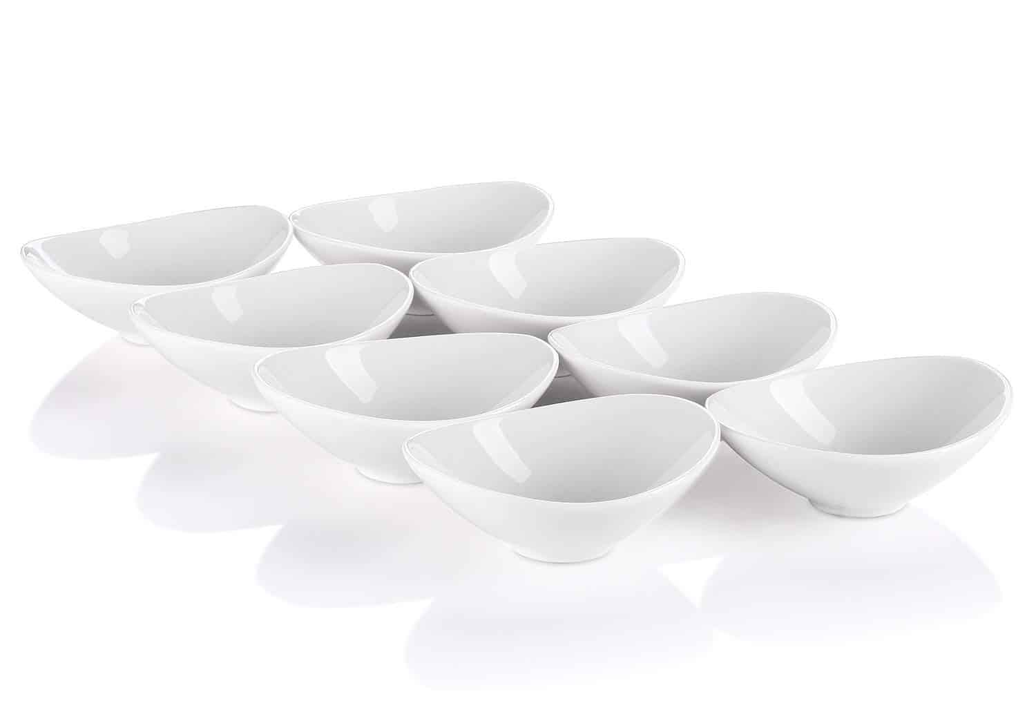 Lovely porcelain bowls perfect for individual dipping, such as ketchup for french fries, butter for dripping shrimp, or chutney and olive oil, etc and also used for serving little dishes, dessert, appetizer, soup, prepping recipes, condiments and so on.