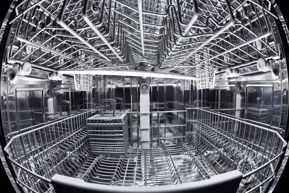 Interior of an empty dishwasher.