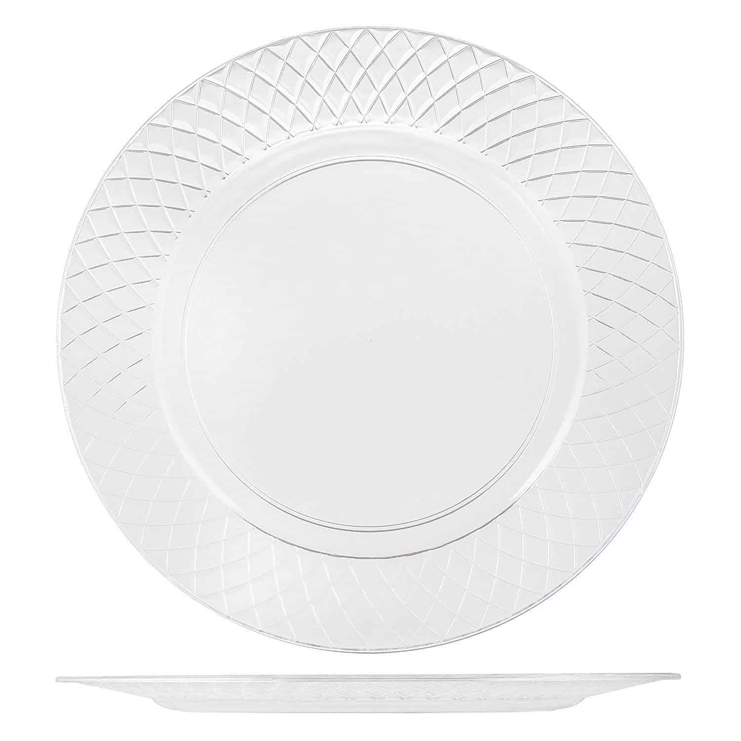 This plate's crystal-clear construction expertly showcases colorful appetizers, classic tossed salads, and your signature grilled chicken entrees.
