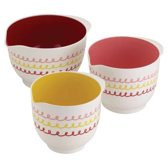 Cute and colorful melamine mixing bowls with doodles.