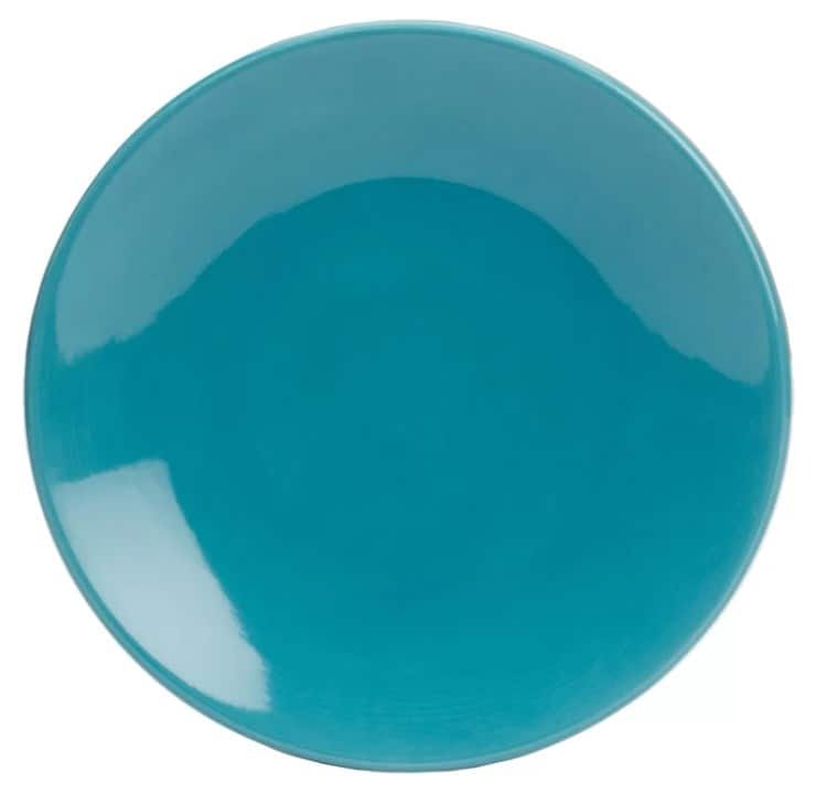 "This bluegreen plate, Zipcode Design Mellissa 11"" earthenware dinner plate is a dishwasher and microwave-safe."