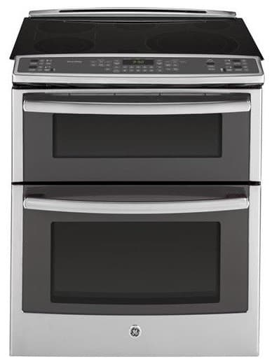 Electric cooktop with double oven.