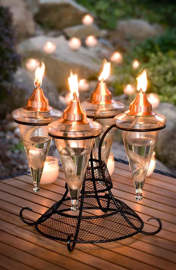 Patio torch with multiple wicks