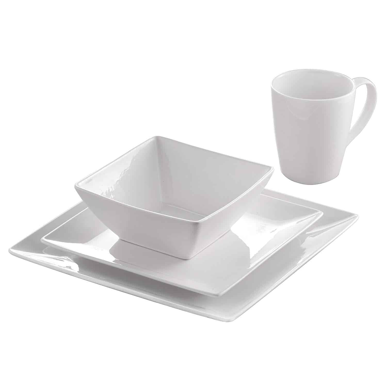 Roscher 32-piece pure square fine China dinnerware set is made from delicate fine porcelain, this set is elegant and stylish, with a square shape to enable you to serve your dishes to meet restaurant standards.