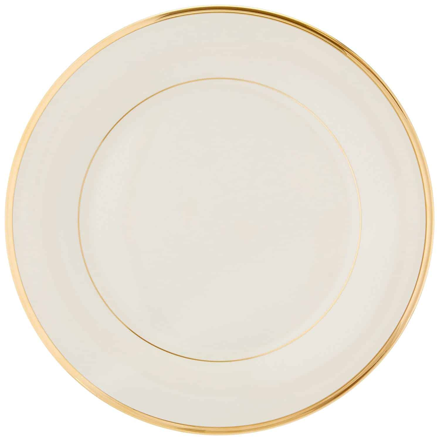 Lenox Eternal gold-banded fine china plate, banded elegantly in 24-karat gold.