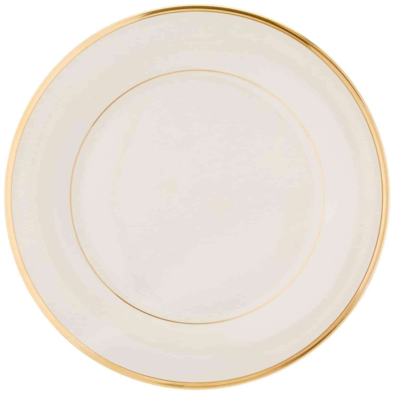 Lenox Eternal gold-banded fine china plate, banded elegantly in 24-karat gold.