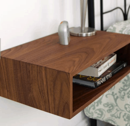 Floating wood bedside shelf from Etsy