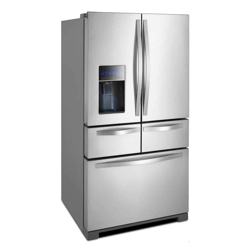 Side view of stainless steel full frost free french door refrigerator.