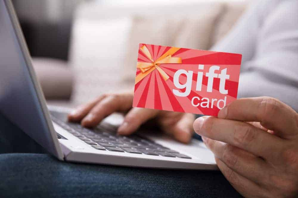 Shopping online through a gift card.