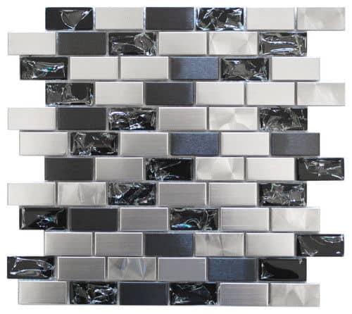 Glass mosaic kitchen backsplash.