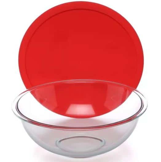Red mixing bowl with a red lid.