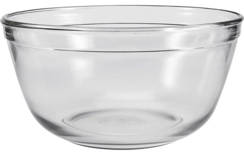 A durable, wide-mouthed glass bowl.