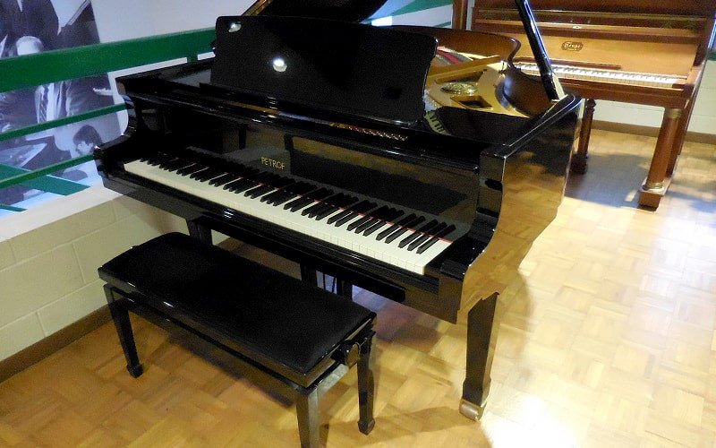 Glossy black grand piano