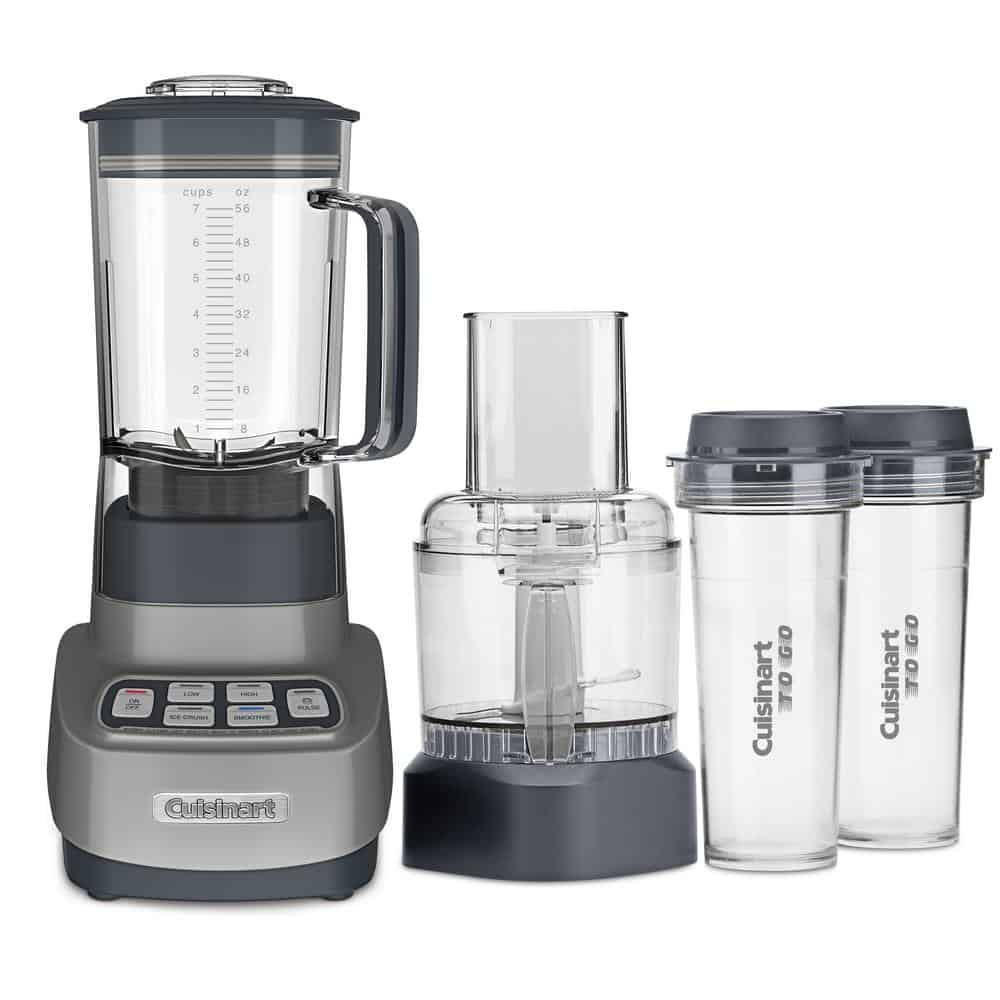 Blender and food processor with travel cups.