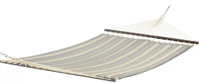 Quilted hammock with Gray and light beige stripes.