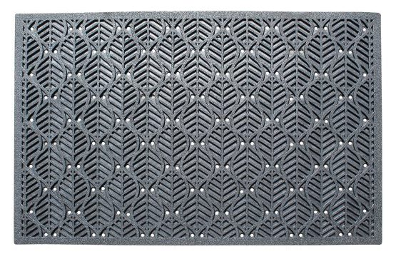 Gray scraper doormat made out of rubber.