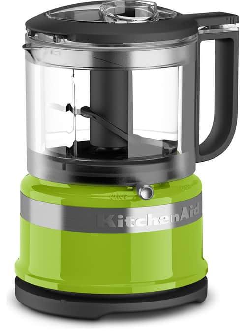 Green and gray mini food processor.