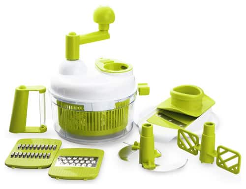 Plastic, hand-operated food processor in Apple Green.
