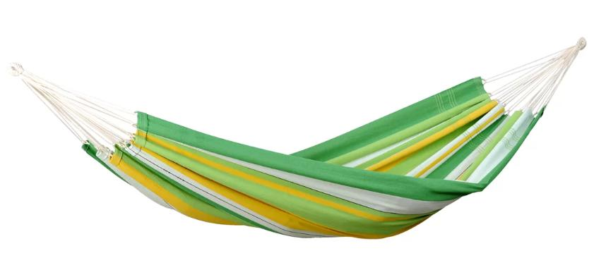 Brazillian-style hammock in yellow and green.