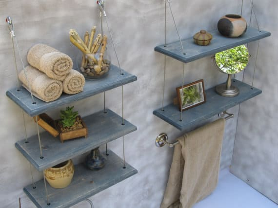 Gray cable suspended bathroom floating shelves from Etsy