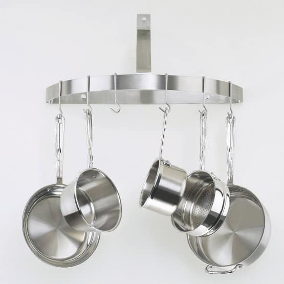 Half circle wall-mounted pot rack made of durable stainless steel with a brushed finish that matches both traditional and contemporary kitchens.