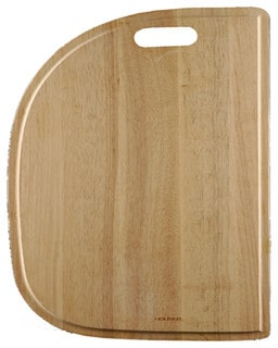 Half-circle wooden cutting board.