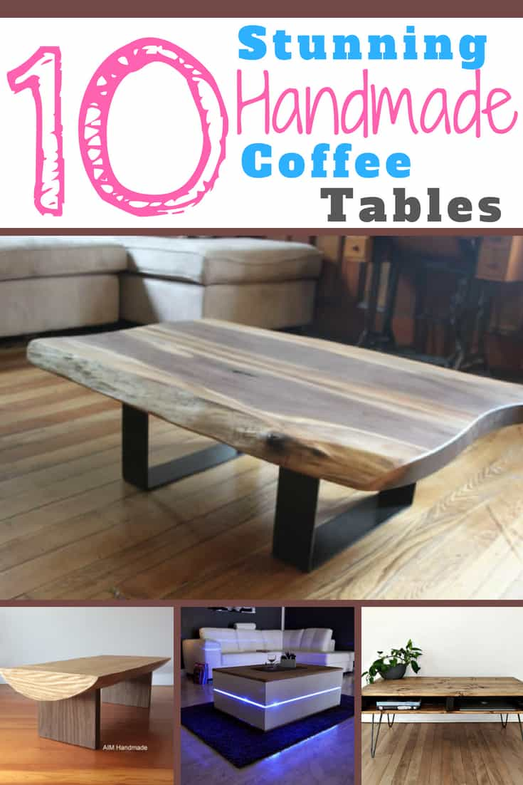 Collection of handmade coffee tables from Etsy