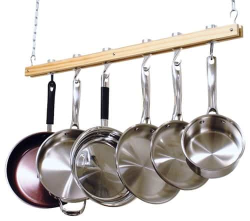 Ceiling mount, hanging, wooden, single bar pot rack.