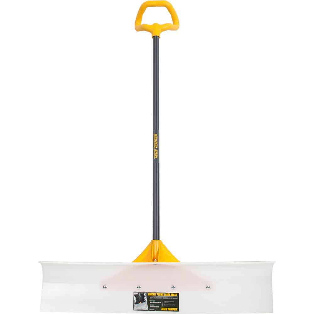 Extra-wide snow pushing blade shovel