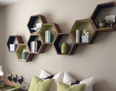 Wood hexagon floating shelves from Etsy