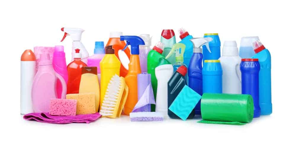 A set of household cleaning supplies.