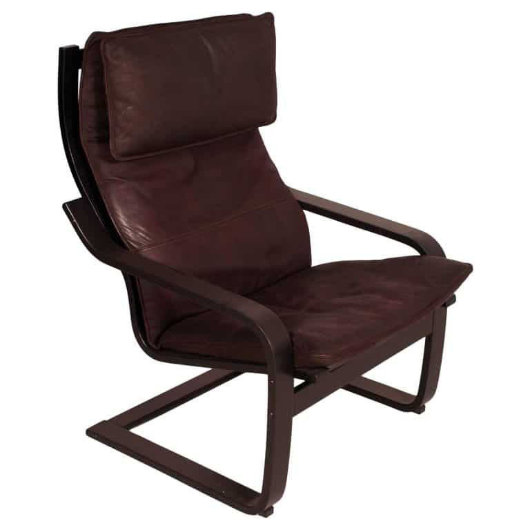 Brown POÄNG chair in side profile.