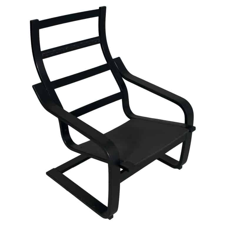 POÄNG chair steel frame in black.