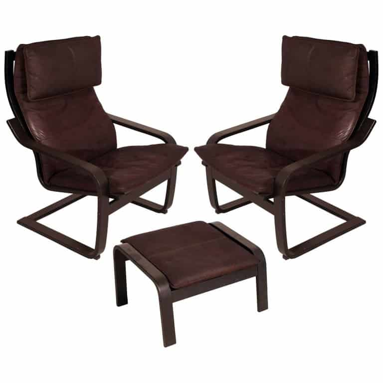 A 1970s set of Poäng chairs and a footstool.