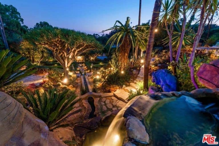 The garden and its koi pond looks magnificent when the lights are turned on during the night time.