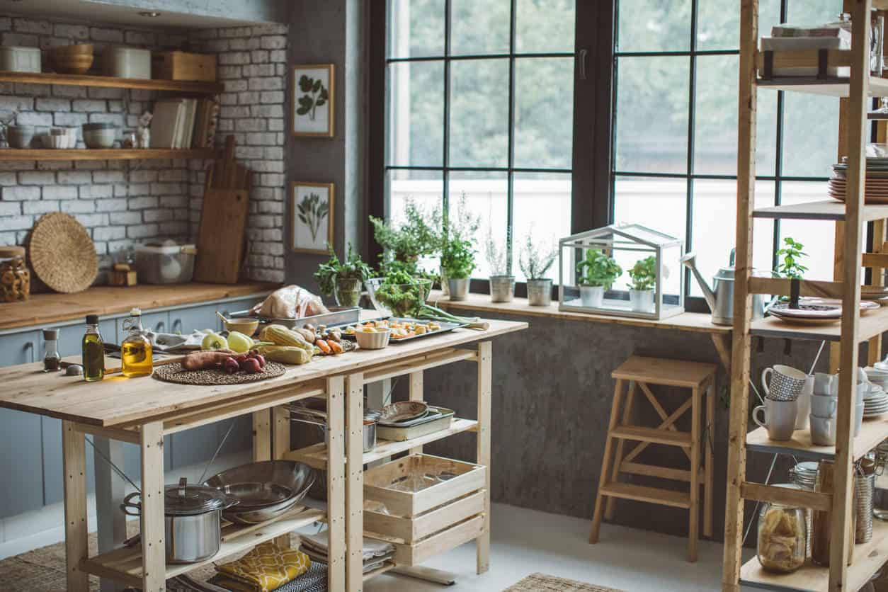 Here's a fabulous example of a kitchen that looks great with inexpensive shelving and island. It sure gives you food for thought with respect to how you can create a terrific design without spending much money at all.