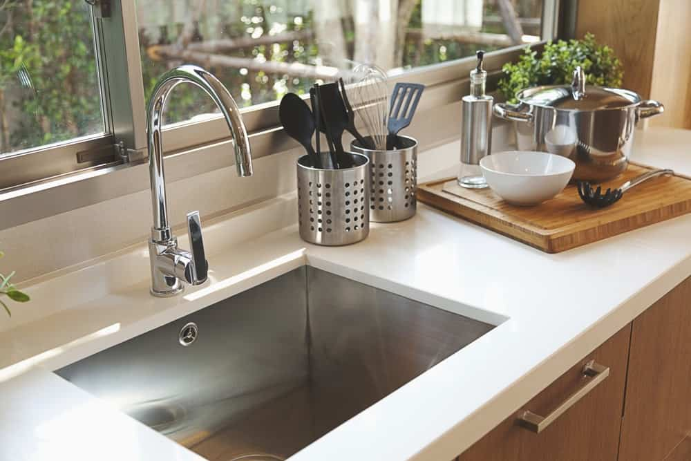 Kitchen sink and faucet.