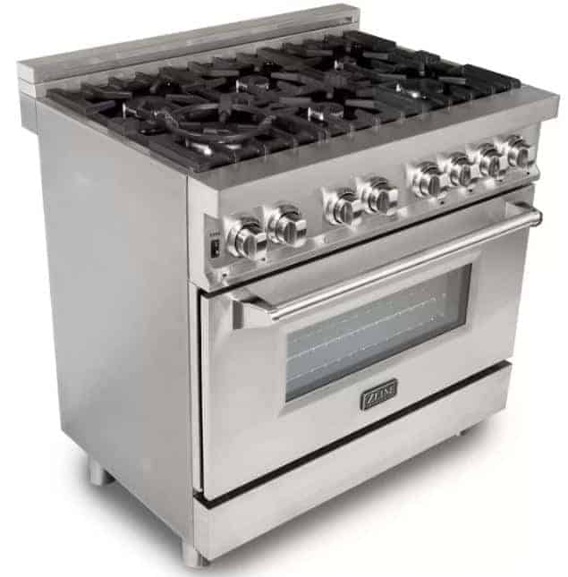 Large, silver fuel range with six burners.