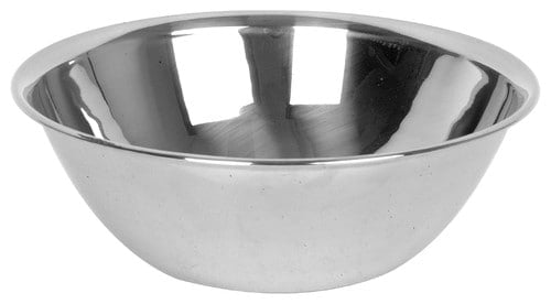 Large, stainless steel mixing bowl.