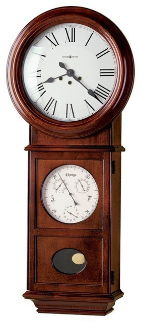 Large, wooden, battery-operated wall clock.