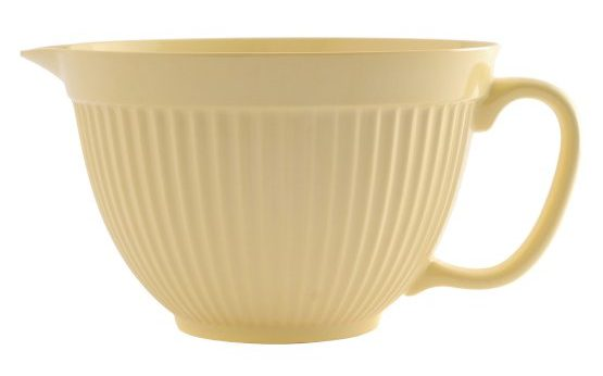 Mixing bowl with handle and spout that comes in a Lemon Yellow color.