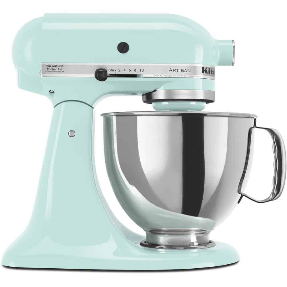 Light blue electric mixer with a dough hook.