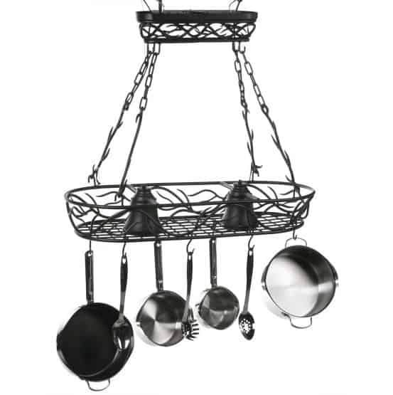 Wrought iron hanging pot rack.