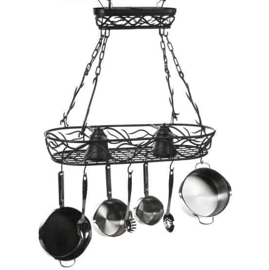 Wrought iron hanging pot rack.